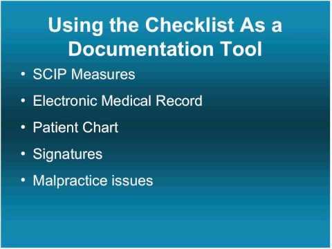 The Checklist as a Documentation Tool