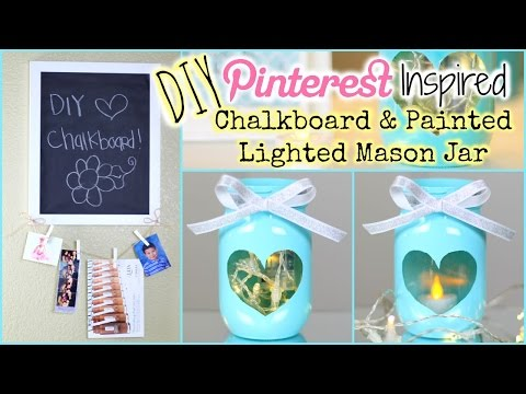 DIY: Pinterest Inspired Painted Lighted Mason Jar + DIY Chalkboard | Collab W/ Dearnessa
