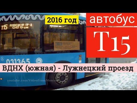 Автобус Т15 ВДНХ (южная) - Лужнецкий проезд