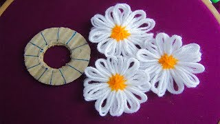 Hand Embroidery Amazing Trick# Sewing Hack With Hizab Pin# Easy Flower Embroidery Trick
