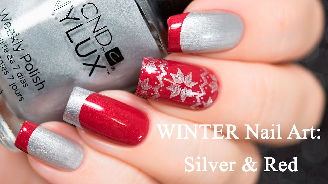 Winter nail art silver red youtube prinsesfo Image collections