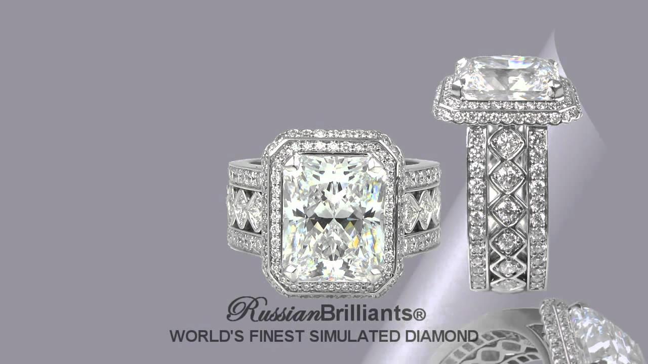 Custom Designed Russian Brilliants® Simulated Diamond Ring