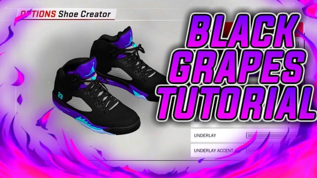 ea82d2f5711f NBA 2K18 SHOE CREATOR TUTORIAL HOW TO MAKE AIR JORDAN 5 BLACK GRAPE BEST  RETROS IN NBA 2K18!