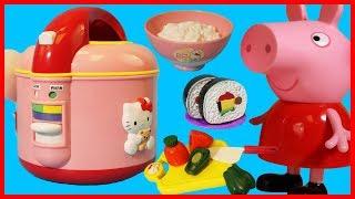 佩佩豬粉紅豬小妹用凱蒂貓 Hello Kitty 的電飯煲做壽司了