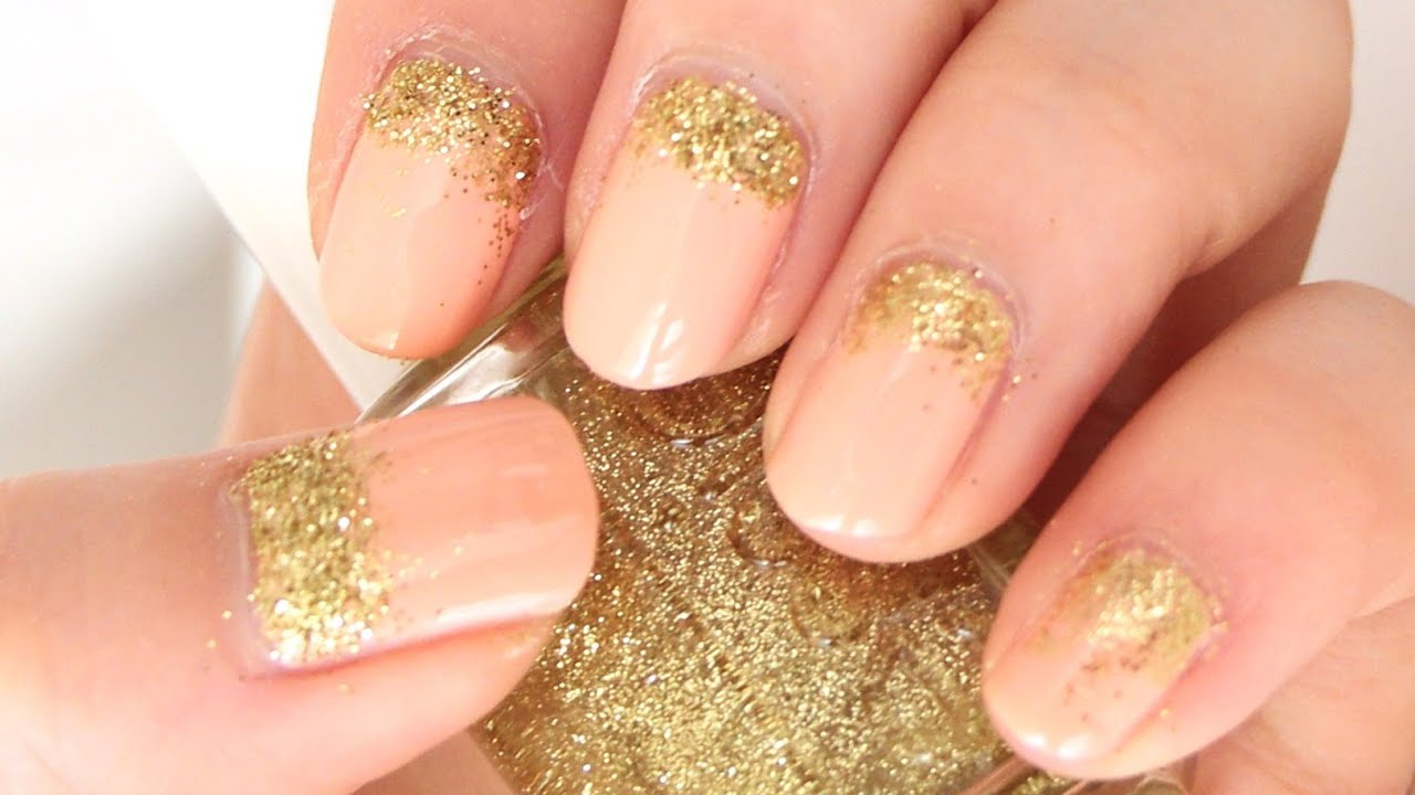 Gold Glitters And Peach Nail Art Youtube