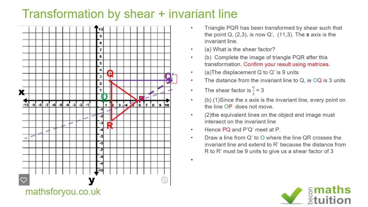 Transformation by shear + invariant line, iGCSE, GCSE - YouTube
