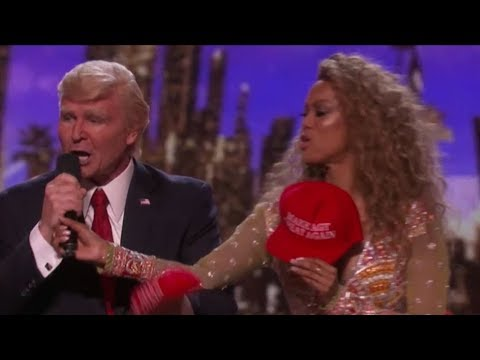 Watch Donald Trump Losing the Vote and Grabbing Tyra Banks HOT Mic | America's Got Talent 2017