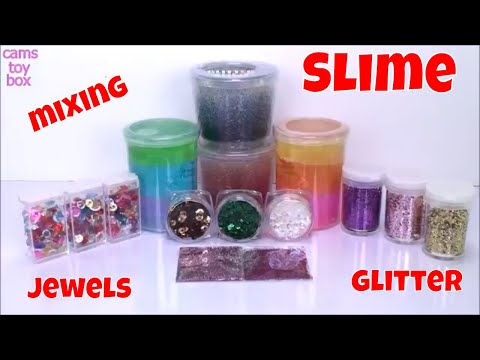 Mixing Store Bought Slime vs Putty SLIME Smoothie Glitter Jewels Kids Fun Playing Slimes