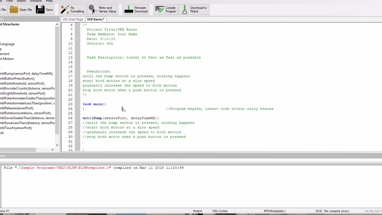Coding VEX Racer