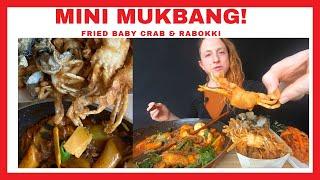 Mini ASMR Mukbang, Deep Fried BABY CRAB Rabeokki And Sides 미니 먹방, 베이비 크랩 튀김, 라 벅키 ASMR 먹방
