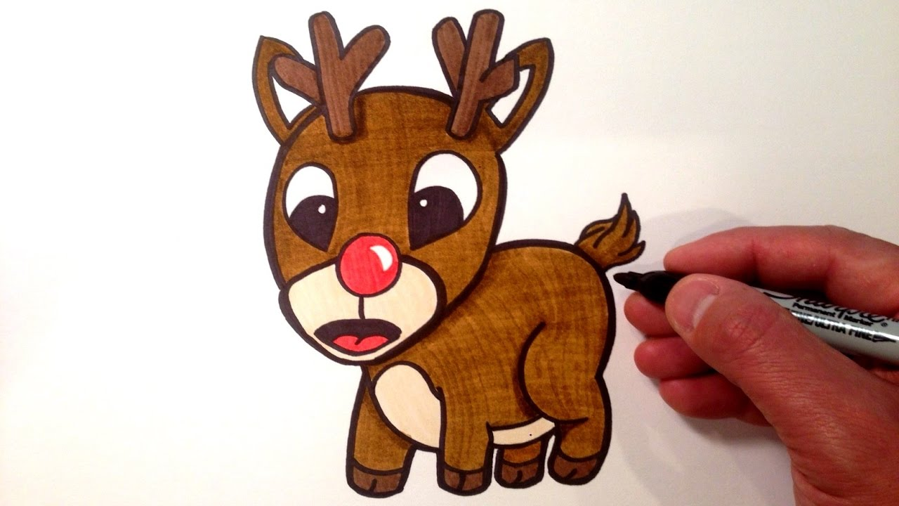 how to draw a cute rudolph the red nosed reindeer youtube