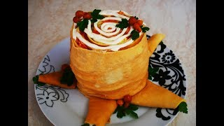 Праздничный салат ПЕНЁК с ОПЯТАМИ салат закуска САЛАТ РОЛЛ