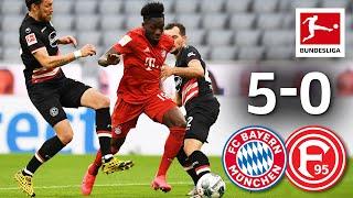 FC Bayern München vs Fortuna Düsseldorf I 5 0 I Lewandowski Davies Pavard Score in Emphatic Win
