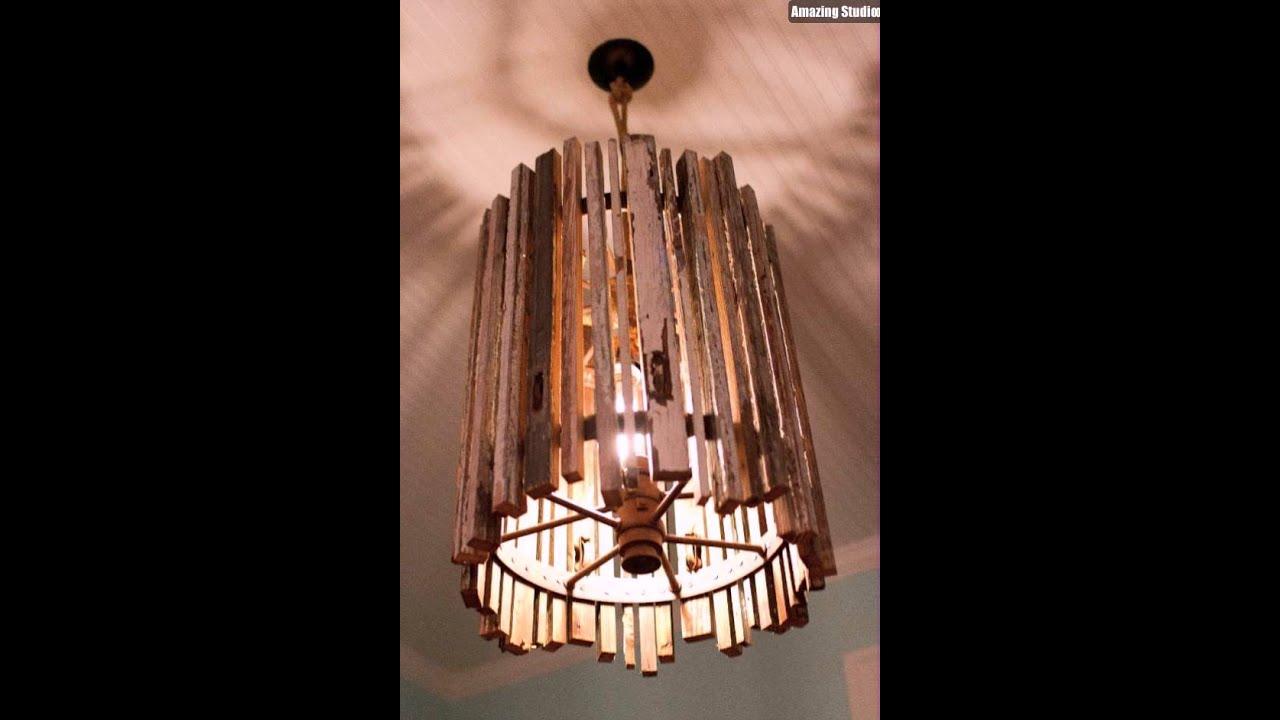 Upcycled Old Wood Diy Pendant Light Youtube