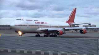 Air India 1 Boeing 747 at JFK for United Nations meetings filmed by jonfromqueens