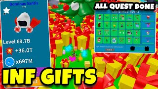 THE OWNER SPAWNED MAX PRESENTS TO COMPLETE ALL EVENT QUESTS (Insane Mythical) | Unboxing Simulator