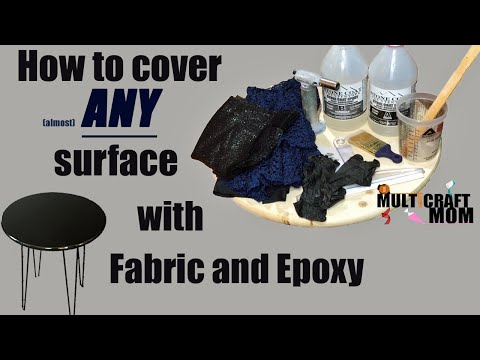 How to use fabric and Epoxy to customize any surface!  (in this case a table top)