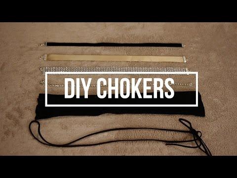💖5 DIY CHOKERS   Rhinestone, Fabric, Suede Lace Etc