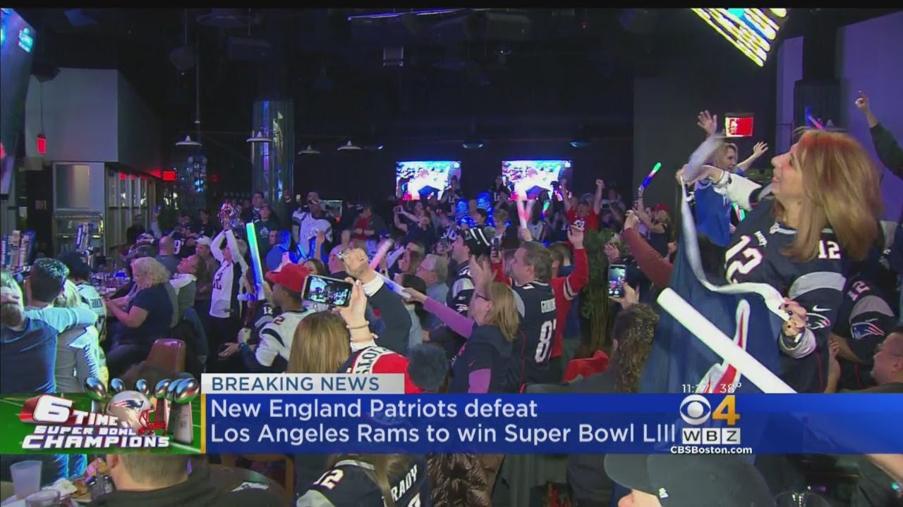 Patriots Fans In Foxboro Erupt As Pats Take Home Super Bowl Win
