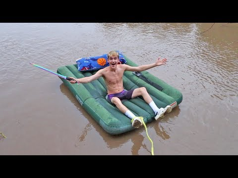 AIR MATTRESS OVERNIGHT CHALLENGE ON RIVER 2! (CRAZY STORM)