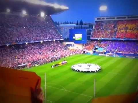 Himno de la champions y del atletico en los cuartos de final de la ...