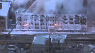 Fire continues at frozen ice-covered building in Chicago