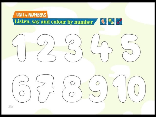 Listen, Say, Colour by Number - Cim and Cimcime - Okul Öncesi İngilizce Eğitim