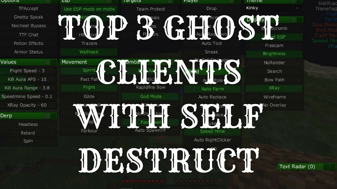 Top 3 Ghost Clients In Minecraft W Self Destruct Free 1 7 10 1 8 Youtube