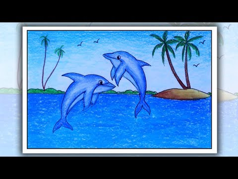 Scenery Drawing Dolphin Scenery Dolphin Drawing Scenery Drawing Easy