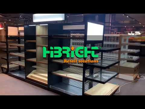 cosmetics display wooden supermarket shelves with light box
