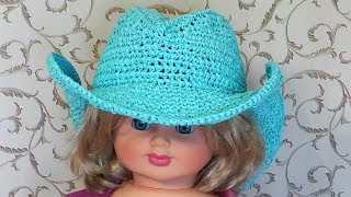 Ковбойская шляпа из пряжи раффия крючком. Шляпа с полями крючком. Часть 1. Cowboy hat. Part 1.