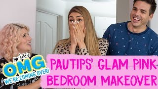 Paula Galindo aka PauTips' Glam Pink Bedroom Makeover! | OMG We're Coming Over thumbnail