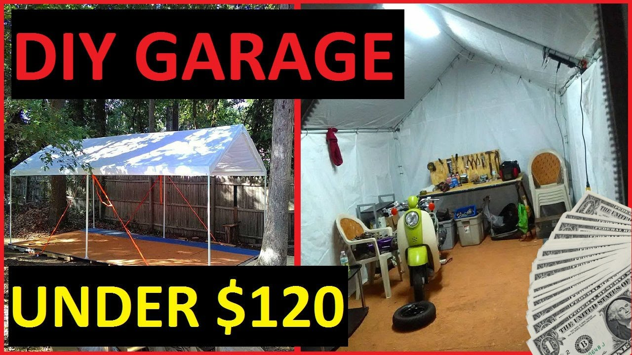 Diy carport garage shelter storage recycled pallet floor for How to build a garage floor