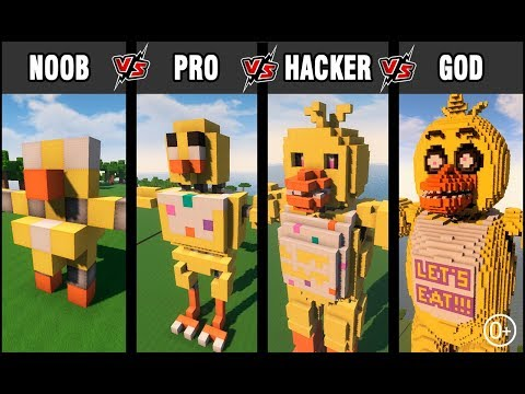 Minecraft Battle: NOOB Vs PRO Vs HACKER Vs GOD: BUILD FNAF CHICA CHALLENGE In Minecraft (0+)