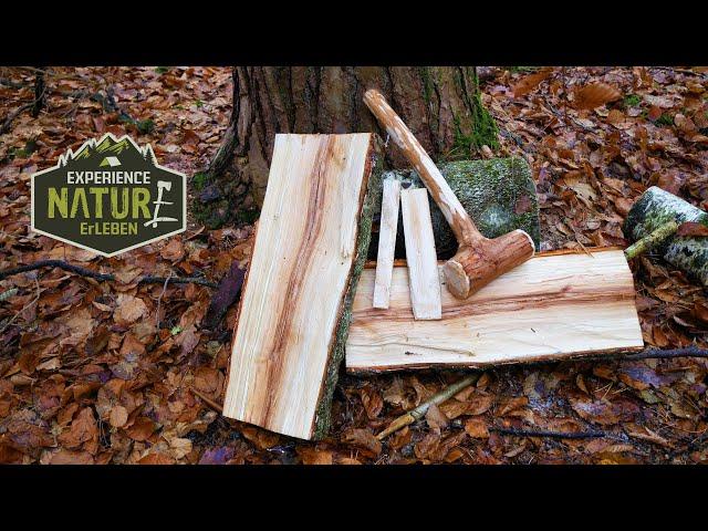 Holz(block) spalten ohne Axt Survial- und Bushcraft Style / Log splitting without an Axe