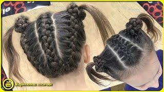 видео Прическа две косы для девочек