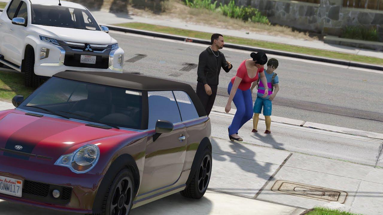 مجرم يهدد إمرأه مسكينه لتتنازل عن أملاكها  و يخطف إبنها فمن سيفزع لها ؟ قراند 5 - GTA V