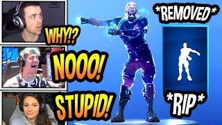 "STREAMERS REACT TO ""FLOSS DANCE"" *REMOVED* FROM FORTNITE! *RIP* Fortnite SAD Moments"
