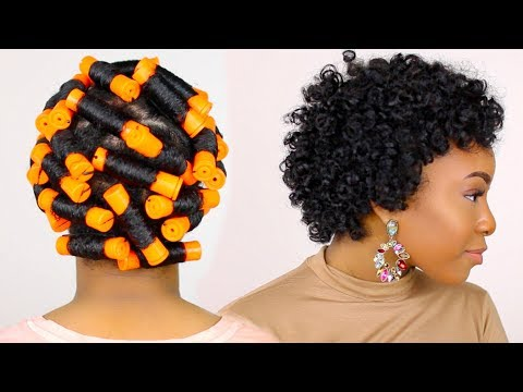 HOW TO | Perm Rod Set on Short Natural Hair Tutorial & Night Time Hair Routine!! thumbnail