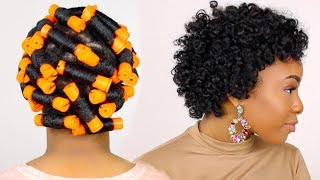 HOW TO | Perm Rod Set on Short Natural Hair Tutorial & Night Time Hair Routine!!