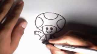 Como dibujar a Toad Mario Kart l How to draw Toad Mario Kart