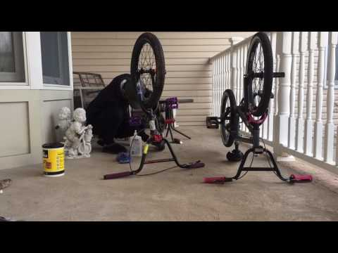 Scrubbing bmx bikes clean