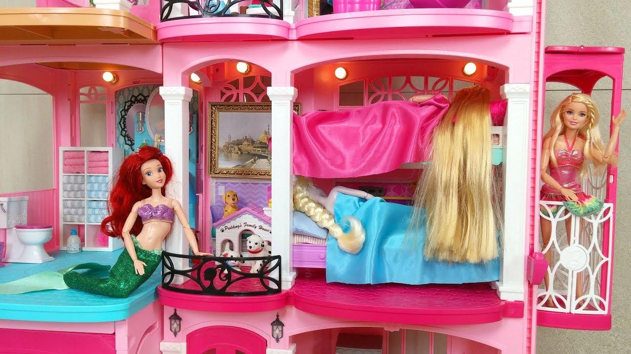 Barbie Elsa Rapunzel Bunk Bed House Morning Routine دمية باربي البيت