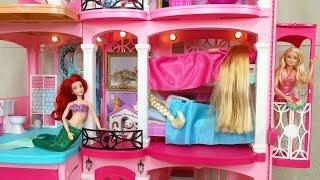 Barbie Elsa Rapunzel Bunk Bed House Morning Routine    Barbie boneca Casa