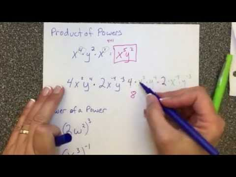 Exponent Examples Product Of Powers And Power Of A Power Youtube