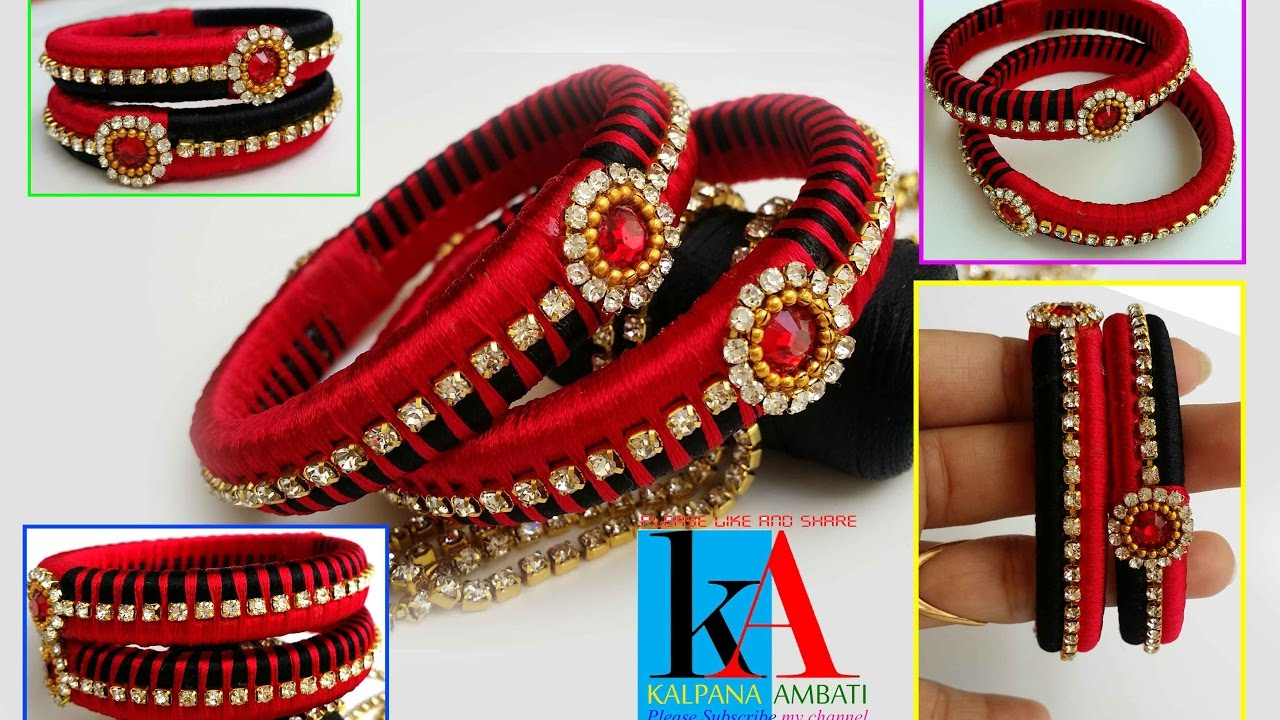 f4554411b1067 Making of designer Silk Thread Bangles with two colours || two side model  Silk Thread Bangles