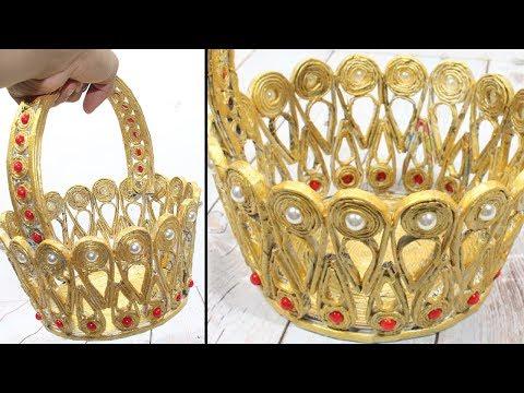 Newspaper basket craft  Flower girl baskets ideas  Very Beautifull