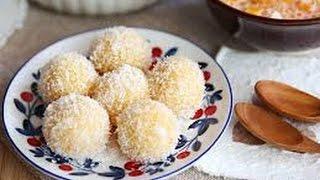Hướng dẫn cách làm bánh nếp khoai lang phủ dừa   Sticky rice balls hấp dẫn
