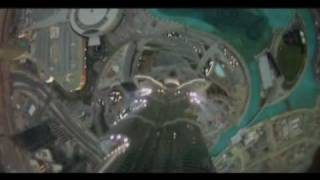 Insane Base Jump off  Dubai's 828m (2,716ft) Burj Khalifa tower.