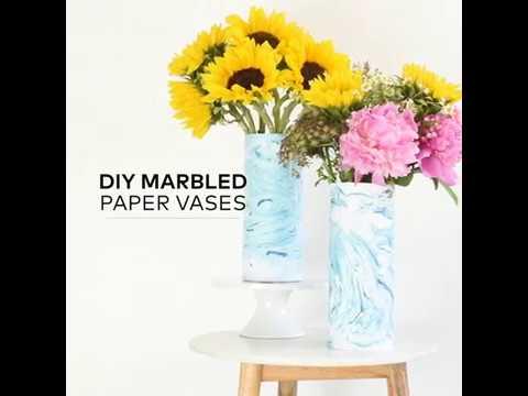 Diy Marbled Paper Vases Youtube